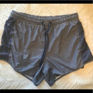 Grey striped running shorts